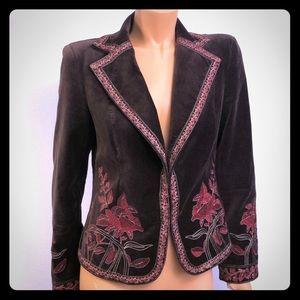 Nygard vintage brown velvet red embroidery blazer